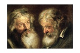 Heads of Two Old Men Giclee-trykk av Jacob Jordaens