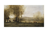 The Pond with Three Cows Giclee Print by Jean-Baptiste-Camille Corot