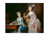 Portrait of an Elderly Lady with Her Daughter Giclée-Druck von Anne Vallayer-coster
