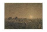 The Shepherd at the Fold by Moonlight Lámina giclée por Jean-François Millet