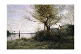 Boat at the Edge of the Island Reproduction procédé giclée par Jean-Baptiste-Camille Corot