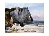 The Cliffs of Etretat, the Port of Avale, 1869 Reproduction procédé giclée par Gustave Courbet