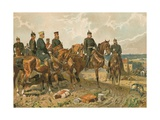 Kaiser Wilhelm I of Germany and His Staff Giclee Print by Georg Koch