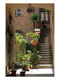 Inner Courtyard in the Old Town of Orvieto with Souvenir Shop, Orvieto, Italy Prints