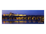 Vltava with Charles Bridge and Prague Castle, Central Bohemian Region, Czech Republic Prints