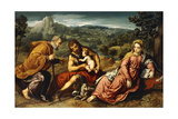 The Holy Family with Saint John the Baptist in a Landscape, 1545-50 Giclée-tryk af Paris Bordone