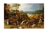 A Landscape with Marauders Attacking a Wagon Train and Pillaging a Village Giclée-Druck von Sebastian Vrancx