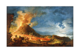 Vesuvius Erupting, with Sightseers in the Foreground Giclée-Druck von Pierre Jacques Volaire