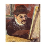 Maurice Utrillo in Front of His Easel Reproduction procédé giclée par Suzanne Valadon