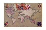 Map Showing the British Empire with Flags and Coats of Arms Giclée-tryk