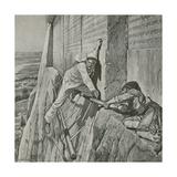 A Narrow Escape for Sir Henry Rawlinson at the Rock of Behistun Reproduction procédé giclée par Richard Caton Woodville II