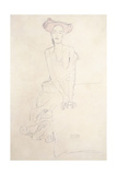Aug Ruhubeit the Young Woman, Supporting Herself with Her Hands, 1908 Giclée-Druck von Gustav Klimt