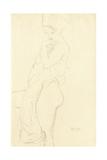 Nude Standing Left, Holding a Towel to the Body, 1917 Giclée-Druck von Gustav Klimt