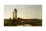 Classical Ruins in Desert Reproduction procédé giclée par Alberto Pasini