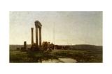 Classical Ruins in Desert Giclee Print by Alberto Pasini