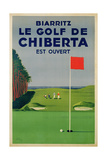 Poster Advertising Golfing Holidays in Biarritz, 1948 Reproduction procédé giclée