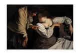 Two Women with a Mirror, C.1620 Giclée-tryk af Orazio Gentileschi