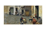 Idle Hours in Riomaggiore, 1892-1894 Giclée-tryk af Telemaco Signorini