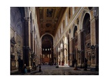 Interior of the Naples Cathedral, 1859 Gicléedruk van Giuseppe Castiglione