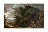Landscape with Mercury and the Dishonest Woodman, C.1650 Giclée-tryk af Salvator Rosa