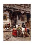 Craftsman Selling Cases by a Teak-Wood Building, Ahmedabad, C.1885 Gicléedruk van Edwin Lord Weeks