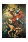 The Archangel Michael Defeating the Giants by Francesco Solimena Giclée-tryk af Francesco Solimena