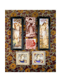 Two E. Smith Tiles with a Medieval Maiden, 20th Century Giclee Print by Joseph Werner