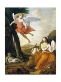 Hagar and Ishmael Saved by an Angel Stampa giclée di Eustache Le Sueur