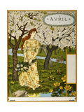 April, Illustration from the Fine Art Portofolio 'Le Mois', 1896 Giclee Print by Eugene Grasset