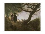 A Man and Woman Contemplating Moon Gicléedruk van Caspar David Friedrich