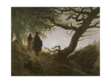 A Man and Woman Contemplating Moon Giclee Print by Caspar David Friedrich