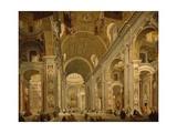 Interior of St Peter's Basilica, 1754 Reproduction procédé giclée par Giovanni Paolo Pannini