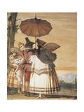 Summer Walk, 1757, Detail of Fresco Giclée-tryk af Giandomenico Tiepolo