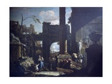 Classical Ruins and Figures Giclée-tryk af Sebastiano Ricci