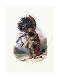 Pehriska-Ruhpa, Moennitarri Warrior in the Costume of the Dog Danse, 1840 Stampa giclée di Karl Bodmer