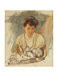 Mother Rose Looking Down at Her Sleeping Baby, C.1900 Reproduction procédé giclée par Mary Cassatt