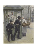 Two Young Chimney Sweeps Stealing Cakes from a Baker's Basket Giclée-vedos tekijänä Paul Charles Chocarne-moreau