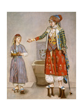 A Woman in Turkish Costume in a Hamam Instructing Her Servant Giclée-tryk af Jean-Etienne Liotard