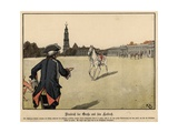 Frederick the Great of Prussia and His Favourite Horse Giclee Print by Richard Knoetel