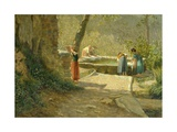 Where They Can Find the Village Gossip Giclee Print by Ernesto Rayper