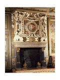 Fireplace with Round Image of Venus and Adonis Giclée-tryk af Francesco Primaticcio