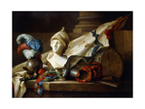 A Bust of Minerva with Armour and Weapons on a Stone Ledge, 1777 Giclee-trykk av Anne Vallayer-coster