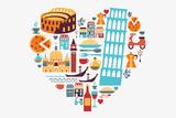 Italy Love - Heart Plastikskilt af  Marish