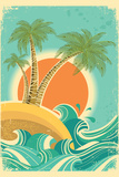 Vintage Nature Sea With Waves And Sun Plastic Sign by  GeraKTV