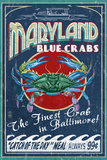 Baltimore, Maryland - Blaue Krabben, Englisch Plastikschild von  Lantern Press