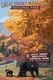 Park Entrance and Bear Family - Great Smoky Mountains National Park, TN Cartel de plástico por  Lantern Press