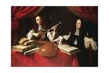 Alessandro and Bonifacio Agliardi, Right Panel of Agliardi Triptych Giclée-tryk af Evaristo Baschenis