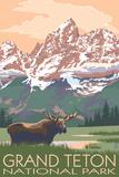 Grand Teton National Park - Moose and Mountains Placa de plástico por  Lantern Press