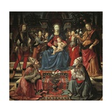 Madonna and Child Enthroned Giclée-tryk af Domenico Ghirlandaio