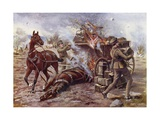 Acting Bombardier H a Creasey Assisting to Unload a Burning Ammunition Wagon Giclee Print by George Derville Rowlandson